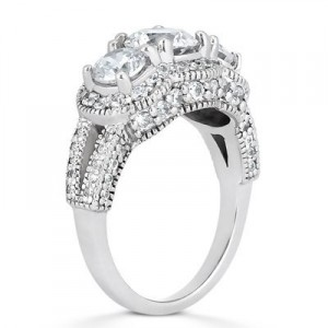 vintage 3 stone diamond ring from side