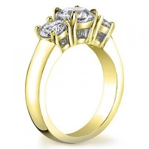 3 Stone Diamond Ring with Yellow Gold Band